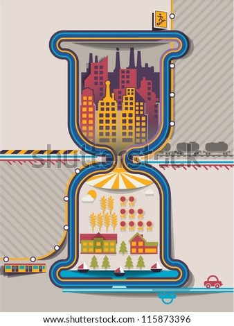 city info graphics in hourglass,vector background