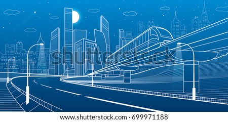 City infrastructure and transport illustration. Monorail railway. Train move over flyover. Modern night city. Airplane fly. Towers and skyscrapers. White lines on blue background, vector design art