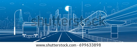 City infrastructure transport panorama. Monorail railway. Train move over flyover. Modern night city. Airplane fly. Towers and skyscrapers. Bus move. White lines on blue background, vector design art - Shutterstock ID 699633898