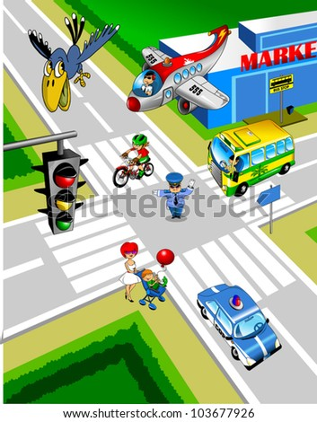 City intersection. A policeman controls traffic;