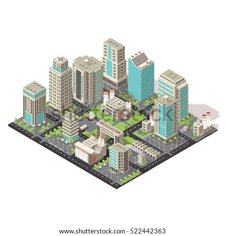 city isometric concept with