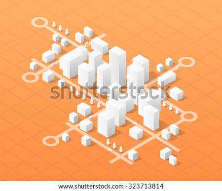 City isometric map, consisting of urban skyscrapers block pointer and driving directions Сток-фото ©