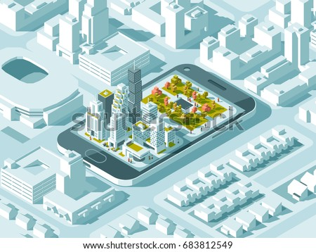 city isometric plan with road