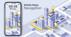 City isometric plan with road and buildings on smart phone.Map on mobile application.Vector illustration of smartphone with mobile navigation app on screen.mobile Navigation app on screen.
