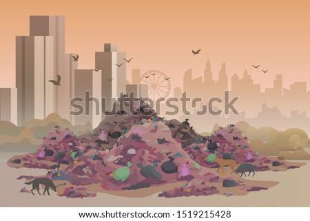 city landfill flat vector