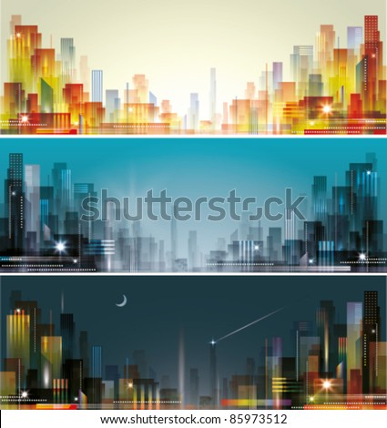 City landscape at daylight, evening and night.