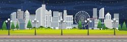 City landscape at night scene illustration