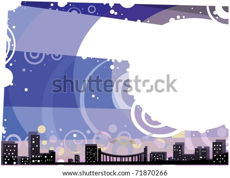 City landscape at Night, with Blue Sky and White Copy space; Postcard vector illustration
