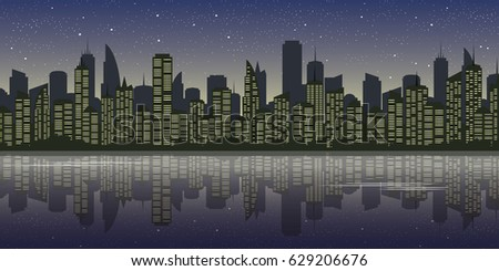 city landscape at starry night