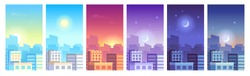 City landscape. Daytime cityscape sunrise, morning or day, sunset and night city skyline, town with buildings in different time and urban cityscape. Architecture silhouette vector set