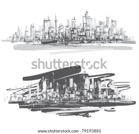 City landscape. Hand-drawn vector illustration.