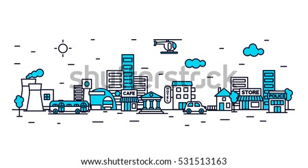 City landscape illustration.