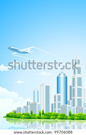 City Landscape Island with Green Trees Clouds and Airplane