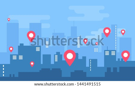 City landscape. Modern building architecture Urban cityscape skyline. Buildings silhouette with location pin. Big city streets. Vector illustration. Buying, selling and renting apartment app