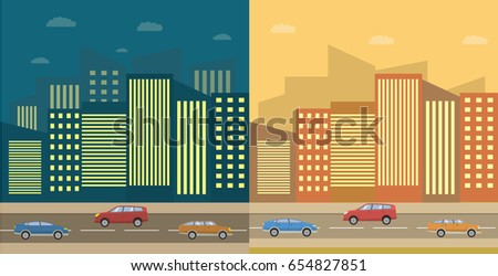City landscape night and day.Urban city landscape of the building skyscraper tower highway road sidewalk and cars. Vehicle sedan crossover. Flat vector. Facade of houses.