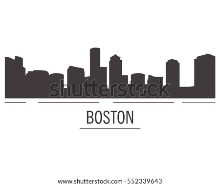 City landscape of Boston in flat style. City silhouette.Down town American landscape with skyscrapers and high-rise buildings in flat style a vector.