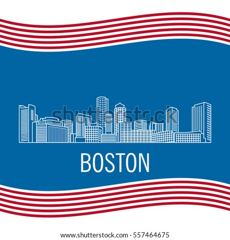 City landscape of Boston in linear flat style on a black background.Down town American landscape with skyscrapers and high-rise buildings.National flag of the United States of America Massachusetts
