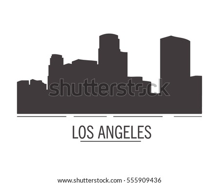 City landscape of los angeles in flat style. City silhouette.Down town American landscape with skyscrapers and high-rise buildings in flat style a vector.