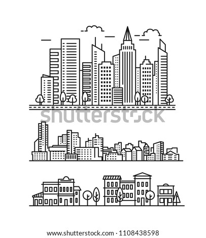 City landscape pattern. Thin line City landscape. Vector