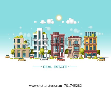 City landscape. Real estate and construction business concept. Modern architecture, buildings, hi-tech townhouses, cars, green roofs, skyscrapers. Flat vector illustration. 3d style.