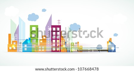 City Landscape real estate vector background banner