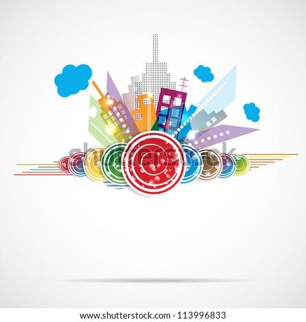 City Landscape real estate vector background label