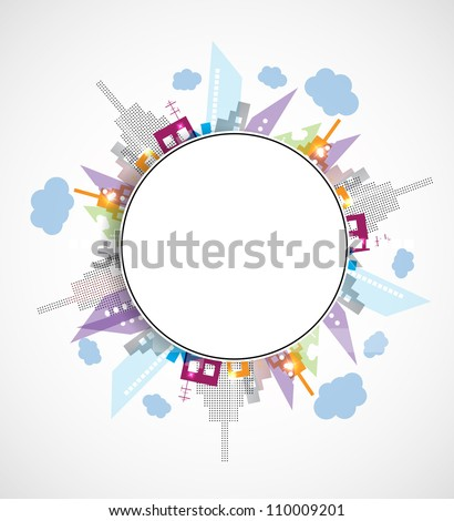 City Landscape rounded abstract real estate background