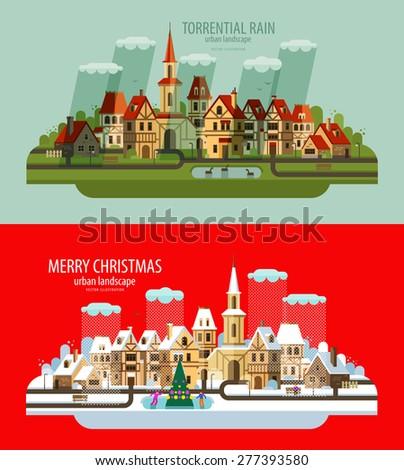 city landscape set of elements