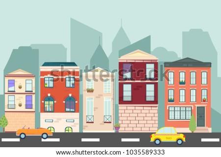 City landscape. Urban landscape in flat style. Vector illustration. #1035589333