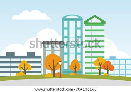city landscape with autumn