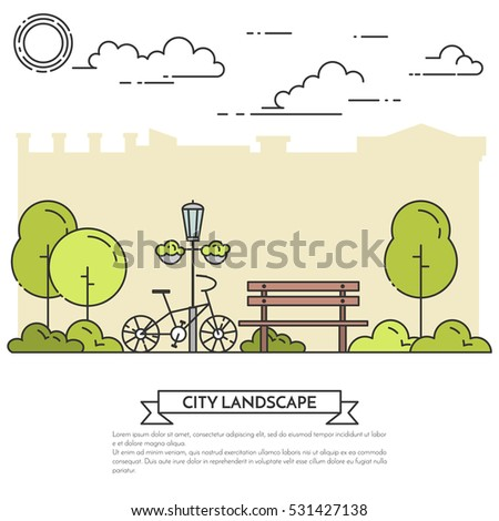City landscape with bench, bicycle in central park. Vector illustration. Flat line art. Concept for building, housing, real estate market, architecture design, property investment flyer, banner, card.