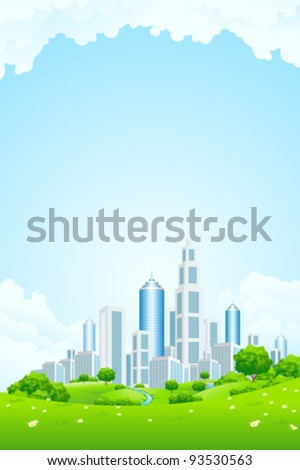 City Landscape with Green Hills River Trees Flowers and Clouds
