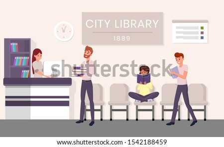 City library visitors flat vector illustration. Bearded man returning books cartoon character. Students revising for exams, pupils holding textbooks in public library, girl immersed in novel