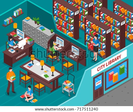 City library with books employee at workplace visitors interior elements and view from street isometric vector illustration