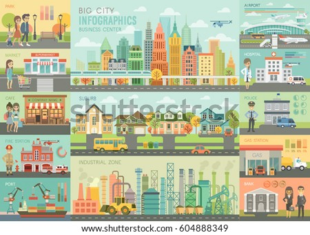 city life infographic set with