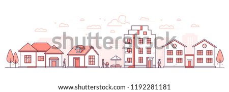 City life - modern thin line design style vector illustration on white background. Red colored high quality composition, landscape with facades of buildings, cottage houses, sandbox, people walking