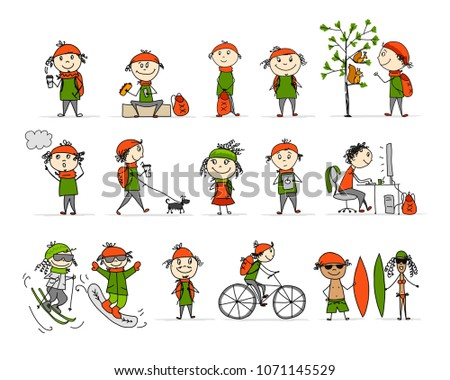 City life, People activity set, sketch for your design