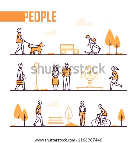 City life - set of line design style elements isolated on white background. A composition with trees, benches, fountain and active citizens running, walking with a dog, cycling, skateboarding