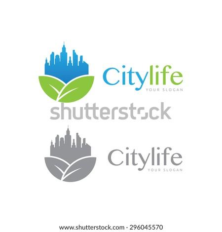 city life vector logo template