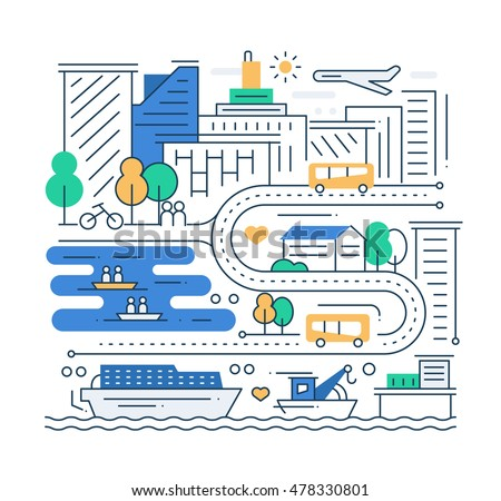 city life   vector modern line...