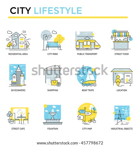 city lifestyle concept icons