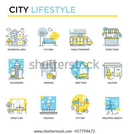 city lifestyle concept icons