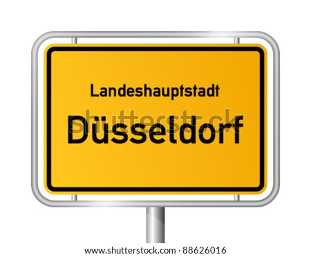 City limit sign DUSSELDORF / DÜSSELDORF against white background - federal state of North Rhine Westphalia / Nordrhein Westfalen - vector illustration