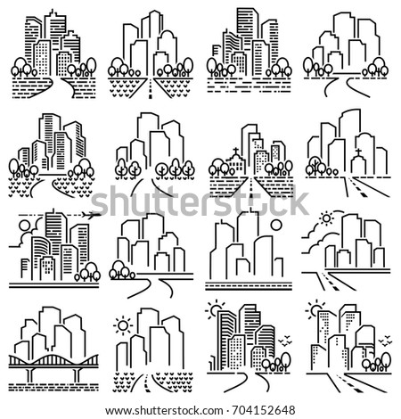 City line icons vector.