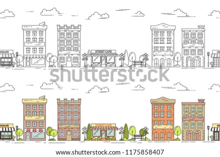 City line vector illustration seamless pattern set with vintage multi storey apartment houses with green trees and clouds in colorful and black outline design isolated on white background.