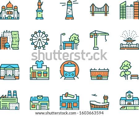 City locations color linear icons vector set. Commercial buildings facades contour symbols. Drugstore, cinema, gym exterior. Town dental and vet clinic, supermarket. Urban places outline illustrations