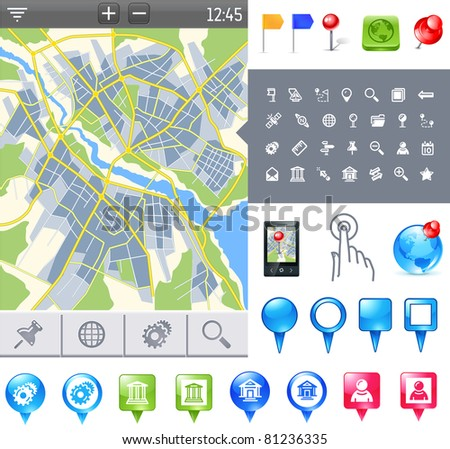 city map and gps icons and pushpins