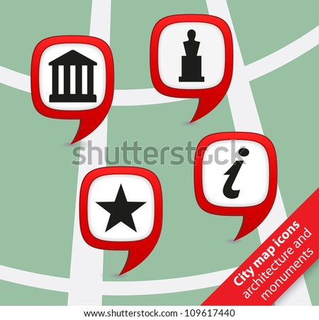 City map icons architecture and monuments pointers
