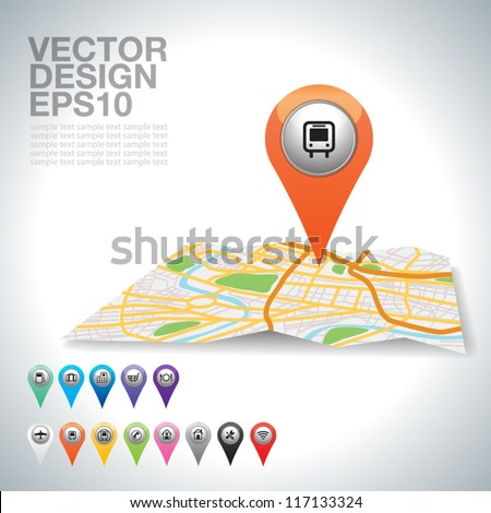 City map icons bus on map.