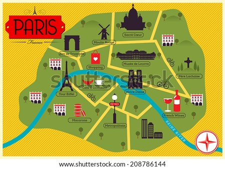 city map illustration of paris landmarks and vector map icons